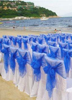 Blue Semi-Sheer Tulle Wedding Chair Sash Set Of 12 (more color) - Wedding Decorations - Wedding Reception - Wedding