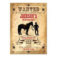 Cowboy Western Birthday Invitation / Wanted Poster Cowboy Invitations, Printable Birthday Invitations, Custom Invitations, Cowboy Birthday Party, Cowboy Party, 13 Birthday, Pirate Party, Birthday Ideas, Cowboy Theme