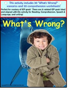 Brightly designed with 30 real-life pictures and corresponding comprehension worksheets, this 59 page activity is perfect for students with Autism and visual learners.  Using a combination of absurdities, familiar and unfamiliar situations, students are encouraged to ask questions, respond by pointing or even using one word answers. The easy-to-read comprehension worksheets can be used as a writing tool, too.