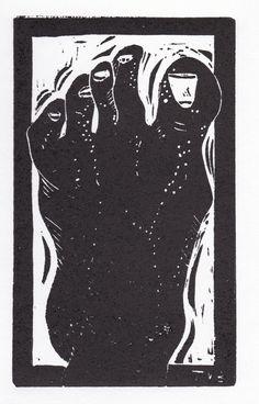 My Left Foot Hand Pulled Linoleum Block Print by ColorOnPaper, $15.00