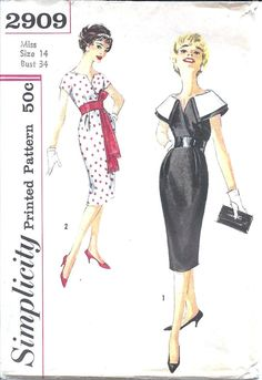 OMG, hostess outfit: black w/ white collar. Plz 2 buy for us both! --- 1950s Womens Wiggle Dress  Simplicity 2909 Vintage by ErikawithaK, $26.00