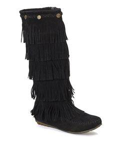 Look what I found on #zulily! Black Button Fringe Boot #zulilyfinds
