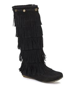 Another great find on #zulily! Black Button Fringe Boot by Shoes of Soul #zulilyfinds