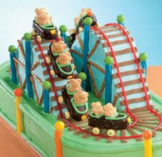 This roller coaster-themed cake is seriously cool!