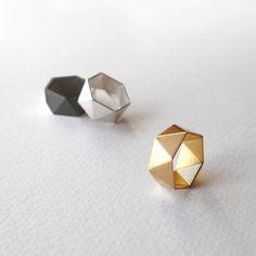 Geometrische versilbert Goldring geometrische Silber von RawObjekt