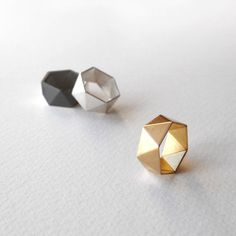 Geometric Gold Plated Ring Geometric Silver Ring by RawObjekt
