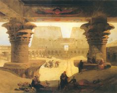 Dromos, or outer Court of the Great Temple at Edfou in Upper Egypt - Artist David Roberts. Neoclassical/Romanticism.
