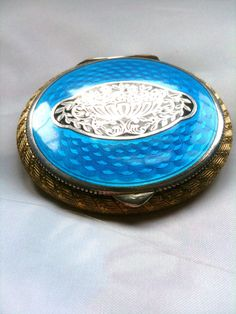 Art Deco Compact, Blue Enamel, 1920s French Silver, Vintage Accessories SUMMER SALE