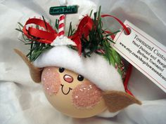 ELF CHRISTMAS ORNAMENT Handmade Green Candy por TownsendCustomGifts