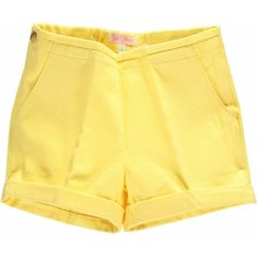 Amaia - Lemon Shorts ($39) ❤ liked on Polyvore featuring shorts, bottoms, summer shorts, cotton shorts and adjustable waist shorts