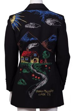 Franco Moschino, embroidered jacket, Cheap and Chic line, 1990s. Via Redlist.