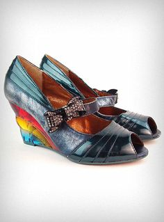 Supercute rainbow wedge heels $106