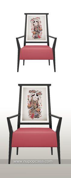 新中式家具 年画概念单人餐椅 modern Chinese style dinning chair with concept of traditional Chinese Nian-Hua, designed by Tommy and Nupopcasa