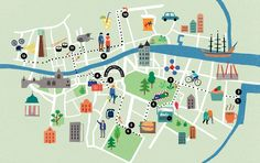 A map of Dublin for Totally Dublin's takeover of the Irish Times. The Little Museum! Musashi! Twisty Peps! Indigo & Cloth!