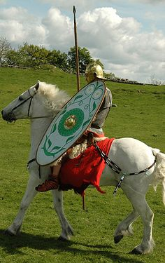 A Roman horseman of the 1st century CE. For protection he wears chainmail, a 'gallic' helmet and carries a large, oblong shield. His weapons consist of a long hasta and a spatha. For practical purposes the cavalry did wear short trousers of sorts (wouldn't do to chafe). Spanish, Gallic and Numidian cavalry proved much superior, so by the first century CE Roman cavalry consisted almost entirely of horsemen raised from the various provinces of the empire.