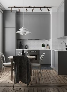 Top Style Tranquil White & Grey Kitchen Ideas To Make Cooking More Fun Small Kitchen Diy, Small Apartment Kitchen, Living Room Kitchen, Home Decor Kitchen, Kitchen Ideas, Grey Kitchen Designs, Modern Kitchen Design, Interior Design Kitchen, Grey Kitchens