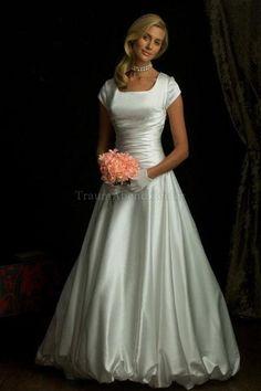 Reißverschluss bodenlanges schlichtes Brautkleid mit gekappten Ärmeln