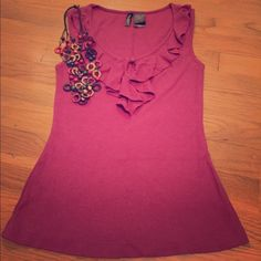 Summer SaleBisou Bisou ruffled tank Perfect! Mauve (pink/purple) ribbed and Ruffled tank! Sz small Bisou Bisou Tops Tank Tops