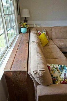 Behind sofa table