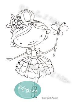 Digital Stamp Butterfly Ballerina digistamp by TheDoodleGarden