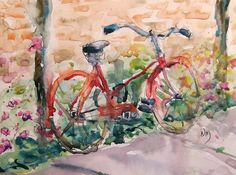 """""""rouge bicyclette"""" - watercolour painting by Nora MacPhail 