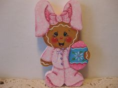 HP Gingerbread Easter bunny spring shelf sitter hand painted