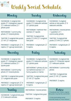 Tips for weekly social media planning! - Tips for weekly social media planning! Social Media Branding, Social Media Planner, Social Media Detox, Social Media Content, Social Media Tips, Social Skills, Social Web, Social Media Calendar Template, Social Media Posting Schedule