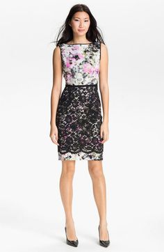 Maggy London Print Lace Overlay Sheath Dress available at Nordstrom