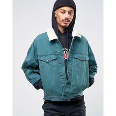 ASOS Oversized Denim Jacket in Bottle Green With Borg Collar ($43) ❤ liked on Polyvore featuring men's fashion, men's clothing, men's outerwear, men's jackets, green, asos mens jackets, mens green denim jacket, tall mens jackets, mens tall denim jacket and mens green jacket