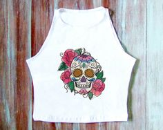 Vintage Skull Crop Top-Festival Clothing-Yoga by ZellyaDesigns