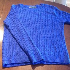 Blue crew neck sweater Beautiful complex blue color! 100% cotton Karen Scott Sweaters Crew & Scoop Necks