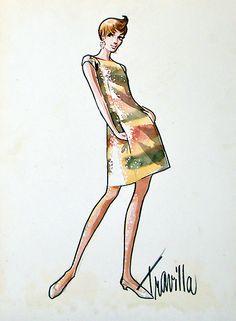 William Travilla - Esquisses et Croquis - Costumes - Sharon Tate - La Vallée des Poupées - 1967