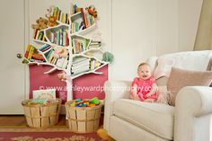 Love this! The tree shelves are so fun and those baskets would be great for toys!