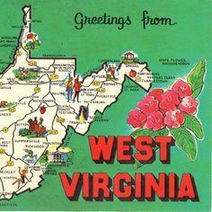 vintage state postcards   Vintage Postcards West Virginia State Maps by heritagepostcards