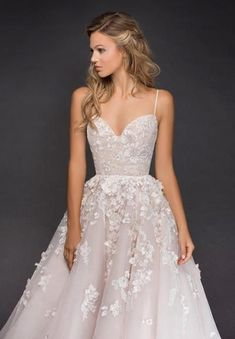 Style 6814 Arden Hayley Paige bridal gown - Rosé lace and tulle bridal ball gow., 6814 Arden Hayley Paige bridal gown - Rosé lace and tulle bridal ball gown, corset bodice with sweetheart neckline and spaghetti straps, full tu. Sweetheart Wedding Dress, Sexy Wedding Dresses, Princess Wedding Dresses, Wedding Gowns, Whimsical Wedding Dresses, Whimsical Dress, Princess Gowns, Vintage Lace Weddings, Princess Hair