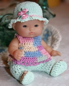 Crochet clothes outfit Berenguer 5 inch baby doll Pants set Girl Pink Mint Green Yellow Blue