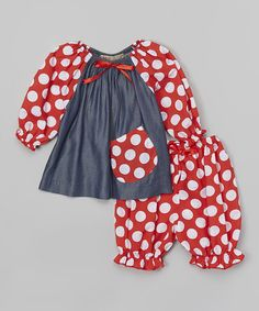 like the pattern combo, but maybe in different colors?  Loving this Red Polka Dot Floral Ruffle Peasant Top & Pants - Infant on #zulily! #zulilyfinds