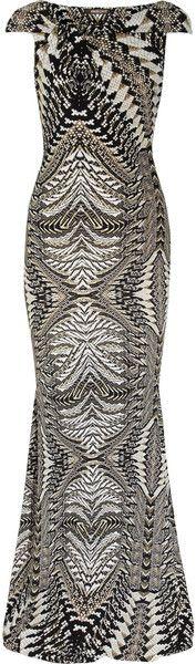 ROBERTO CAVALLI  Snake Print Stretch Jersey Gown