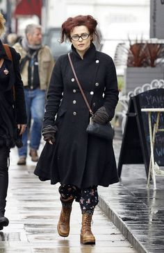 Style inspiration - Helena Bonham Carter. Awesome coat, and the glasses are cool too.