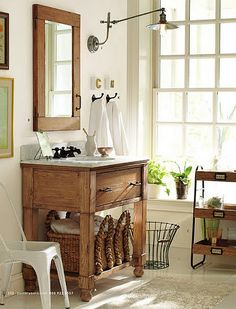 Old cabinet door (with hardware still attached) as new mirror