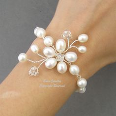 White Pearl Bridal WEdding Bracelet Jewelry, Fresh Water Pearl Swarovski Crystal Silver Wire Wrapped Floral Vine