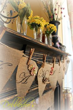 #Spring #mantel 2013 and a #diy easy #burlap banner.  #Burlap is already cut and you can find it @Hobby Parent Lobby