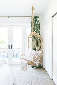 Gray Malin Bedroom Redesign - After with Serena & Lily Hanging Chair