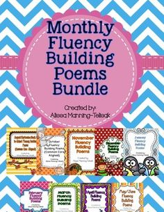 monthly poems, poems for fluency, languag art, weekly poems, fluency poems