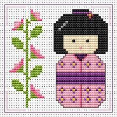 Pink Kokeshi Doll pattern