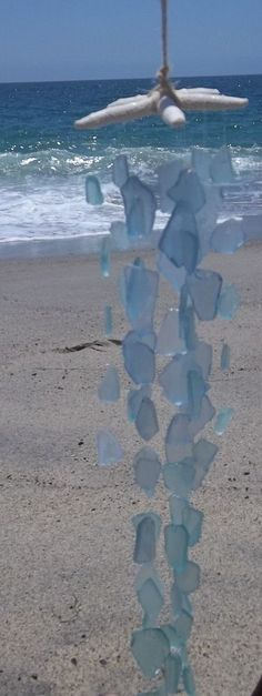 SEA GLASS Wind Chime beach decorations - Garden decorations, beautiful blue #Unbranded