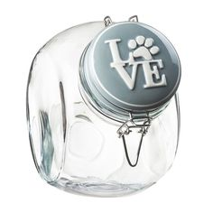 Global Amici Pet Love Hermetic Glass Storage Jar, Grey