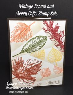My first try with the retiform technique! I used the Vintage Leaves stamp set from Stampin' Up! annual catalog and the Merry Cafe stamp set from the 2017 Stampin' Up! Z Cards, Leaf Cards, Stampin Up Cards, Greeting Cards, Thanksgiving Cards, Thanksgiving Decorations, Fall Cards, Scrapbook Cards, Scrapbooking