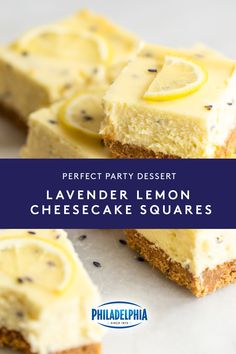 Make any party sweeter with these Lavender Lemon Cheesecake Squares. Each bite of smooth & creamy cheesecake is lush with lemon and floral . Cheesecake Squares, Lemon Cheesecake, Cheesecake Recipes, Dessert Recipes, Just Desserts, Delicious Desserts, Yummy Food, Cheesecakes, Yummy Treats