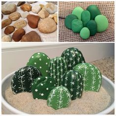 Cactus Painted Rocks - you don't need a green thumb for this plant! - Pebble painting - No green thumb needed for these Cactus Painted Rocks. Transform rocks into an adorable DIY plant tha - Cactus Painting, Pebble Painting, Pebble Art, Stone Painting, House Painting, Cactus Rock, Painted Rock Cactus, Painted Rocks, Cactus Cactus